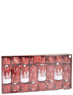 Luxury Red Trees Christmas Crackers Pack of 8, , catlanding
