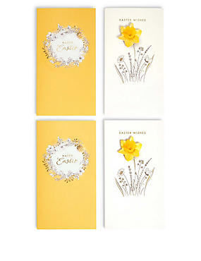 4 Floral Easter Wishes Multipack Cards, , catlanding
