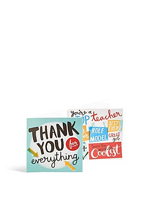 Set of 6 Typographic Thank You Teacher Card, , catlanding
