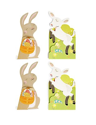 4 Rabbit & Lamb Fold-Out Easter Multipack Cards, , catlanding