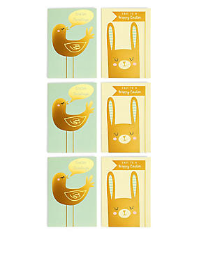 6 Gold Rabbit & Bird Easter Multipack Cards, , catlanding