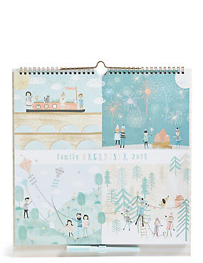2018 Family Organiser with Pull-out Advent Calendar, , catlanding