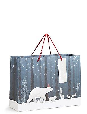 Arctic Animals Medium Christmas Gift Bag, , catlanding