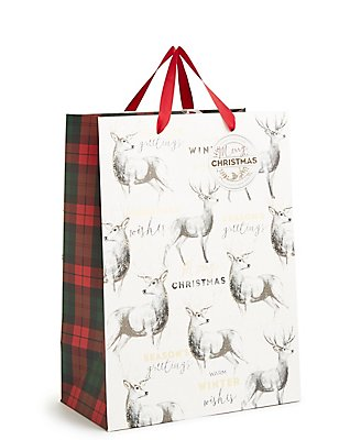 Große Weihnachtsgeschenktasche mit Hirschdesign, , catlanding