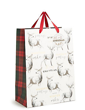 Stag Large Christmas Gift Bag, , catlanding