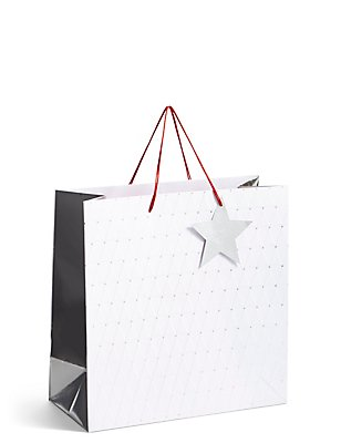 Silver Star Large Christmas Gift Bag , , catlanding