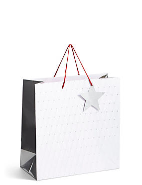 Silver Star Large Christmas Gift Bag , , catlanding