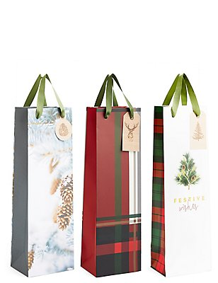 Foliage Multipack Bottle Christmas Gift Bags, , catlanding