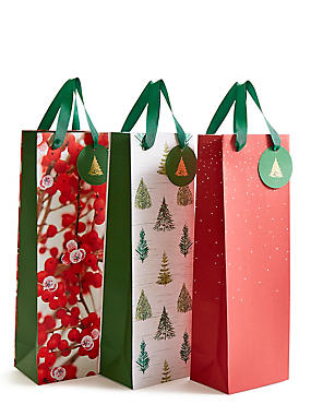 Red Multipack Christmas Bottle Bags, , catlanding