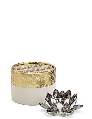 Boxed Cut Glass Flower Tea Light Holder, , catlanding