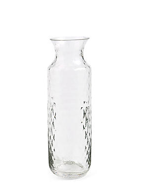 Tall Pressed Diamond Vase, CLEAR, catlanding