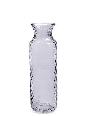 Tall Pressed Diamond Vase, GREY, catlanding