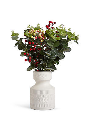 Berry Eucalyptus Ceramic Pot, , catlanding