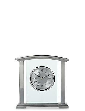 Chrome & Glass Mantle Clock , , catlanding