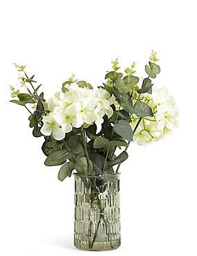 Lit Hydrangea & Eucalyptus in Green Vase, , catlanding