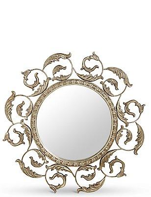 Spiegel met bladeren, ZILVER, catlanding