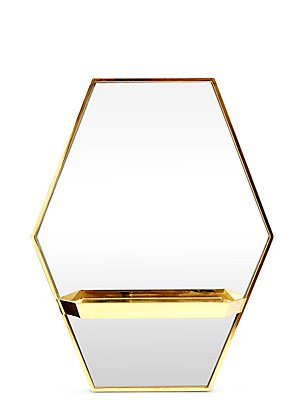 Zeshoekige spiegel met plankje, , catlanding