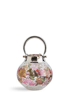 Extrakleine Laterne aus Glas und Metall mit Blütendesign, , catlanding