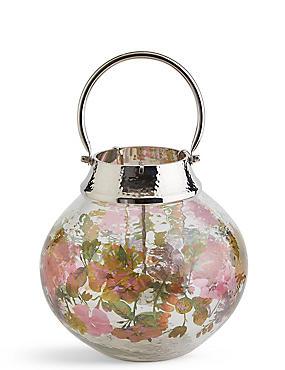 Große Laterne aus Glas und Metall mit Blütendesign, , catlanding