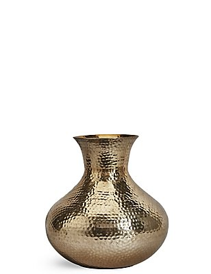 Short Hammered Vase, GOLD, catlanding