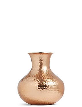 Short Hammered Vase, COPPER, catlanding