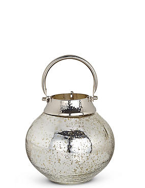 Small Mottled Glass Lantern, SILVER MIX, catlanding