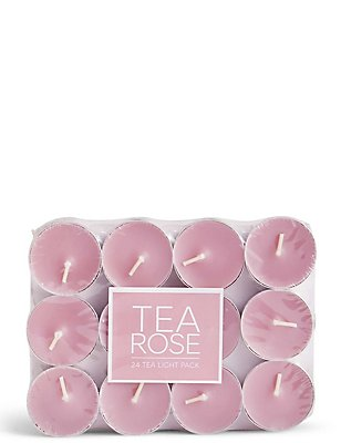 Tea Rose 24 Scented Tea Lights, , catlanding