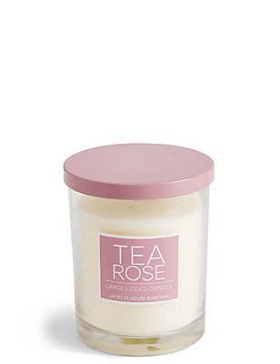 Tea Rose Large Lidded Candle, , catlanding