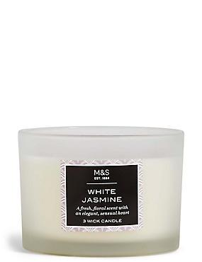 Kaars met 3 lonten en de geur van witte jasmijn, , catlanding