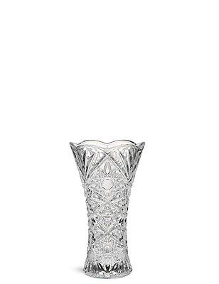 Flared Cut Glass Vase, CLEAR, catlanding