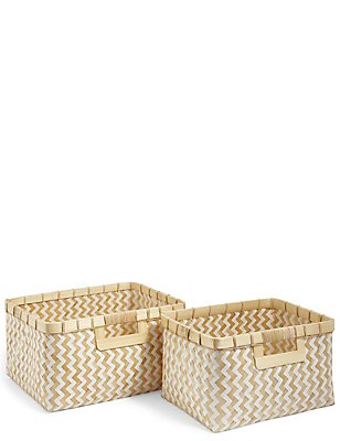 Handwoven Bamboo Set of 2 Baskets, , catlanding