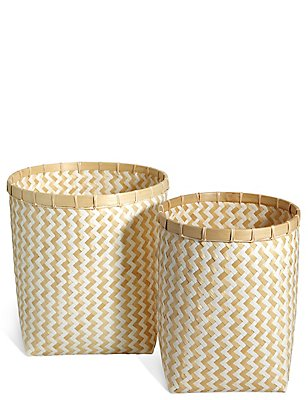 Handwoven Bamboo Set Of 2 Round Baskets, , catlanding