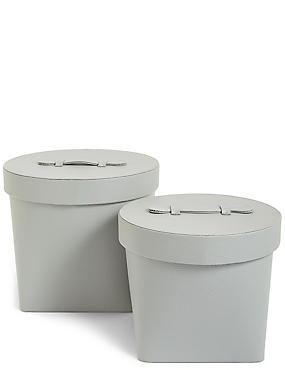 Set of 2 Faux Leather Hat boxes, GREY, catlanding