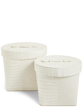 Set of 2 Faux Leather Hat boxes, WHITE, catlanding