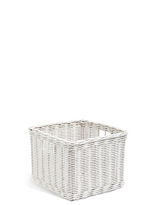 Rattan Small Storage Basket, WHITE, catlanding