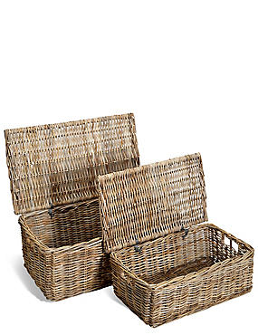 Kubu Rattan Set of 2 Trunks, , catlanding