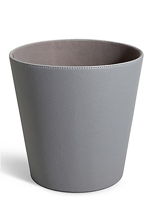 Faux Leather Waste Bin, GREY, catlanding