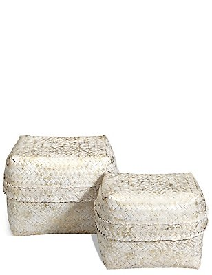 Hand Woven Set of 2 Bamboo Boxes, GOLD MIX, catlanding