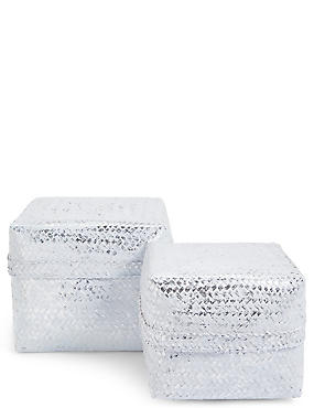 Hand Woven Set of 2 Bamboo Boxes, WHITE MIX, catlanding