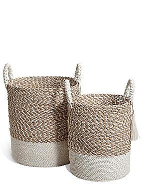 Raffia + Seagrass Set Of 2 Round Baskets, NATURAL, catlanding