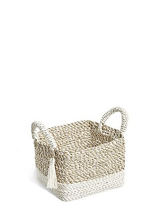 Raffia + Seagrass Small Storage Basket, NATURAL, catlanding