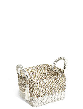 Raffia + Seagrass Small Storage Basket, NATURAL, catlanding