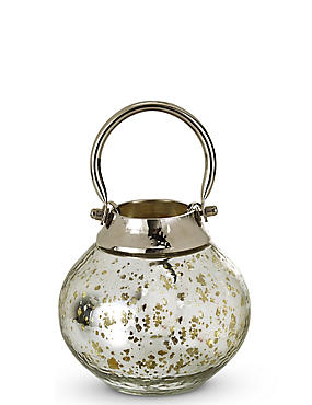 Mercury Glass & Metal Lantern, , catlanding