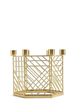 Hexagonal Metal Dinner Candle Holder, , catlanding