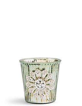 Porte-bougie chauffe-plat en verre à motif côtelé, , catlanding