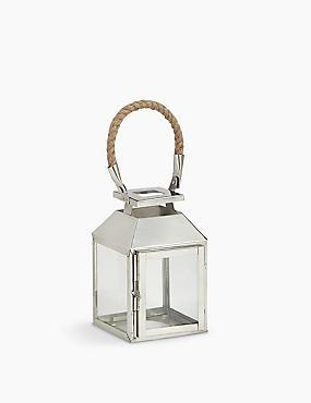 Rope Handle Metal Lantern, SILVER, catlanding