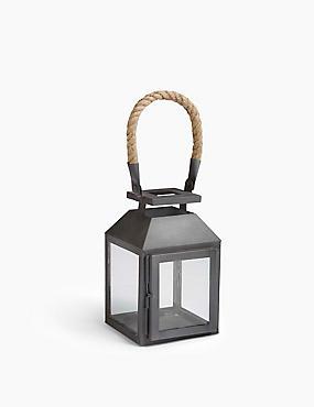 Rope Handle Metal Lantern, BLACK, catlanding