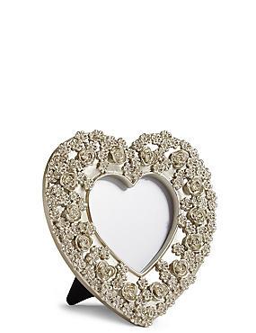 Rose Heart Frame 3.5 x 3.5cm (1.4 x 1.4inch), PEWTER, catlanding