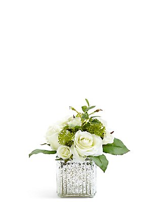 Rose Arrangement in Mercury Glass Cube, , catlanding