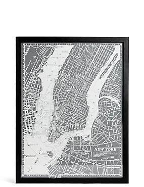 Décoration murale à motif plan de New York de style rétro, , catlanding